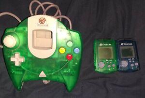 Sega Dreamcast Clear Green Controller & 2 Clear Blue/Green VMU Memory Units
