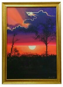 Sunset and Trees Original Painting With Frame Landscape Vibrant Red Purple Sky