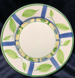 """CALECA ITALY CAA20 11 3/8"""" DINNER PLATE BLUE STRIPES GREEN LEAVES GREEN TRIM"""