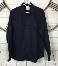 PD&C Mens Size Large Navy Blue Long Sleeve Button Up Military Style Shirt