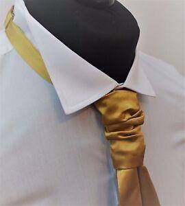 Cravat. Qualität Satin Gold Hochzeit Rüschendetails Knot Tie-Krawatte. verstellbar.