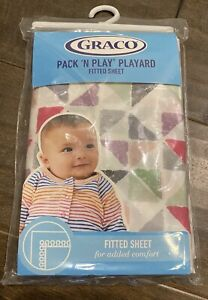 """Brand New GRACO Pack N Play Fitted Sheet Geometric Triangle Pattern 27""""x 39"""""""