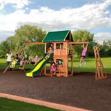 Backyard Discovery Outdoor Playground All Cedar Swing Set Kids Slide Playset New