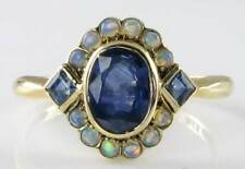 DAINTY  VICTORIAN INSP 9CT BLUE SAPPHIRE & OPAL CLUSTER RING
