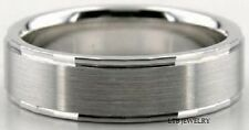 SOLID 18K WHITE GOLD MENS WEDDING BANDS RINGS 6MM SATIN FINISH