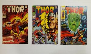 THOR #157, #158, & #164. MARVEL. SILVER AGE THOR. THREE ISSUE LOT