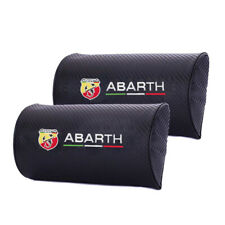 Pair Carbon Fiber Car Logo Neck Seat Support Pillow D Style Headrest for Abarth