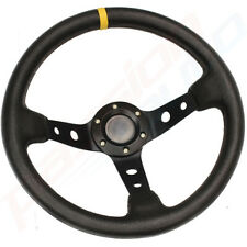 BLACK DEEP DISH DRIFTING/TRACK CAR STEERING WHEEL RACE/SPORTS/DRIFT/LEATHER EFF