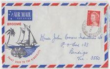 Stamp 4c QE2 on Broome Western Australia 1967 tourism airmail cover to Bendigo