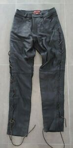 "Skintan Brand Leather Trousers Black 30"" W 31"" L Biker Motorcycle Motorbike"
