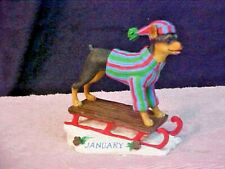 Danbury Mint January Miniature Pinscher Min Pin Dog Calendar Figurine Of Month