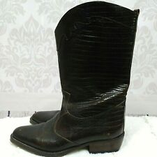 Vintage 90s Joan And David Western Cowboy Boots Womens 36.5 US 6 Brown Leather