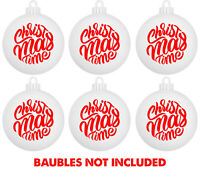 6 X  RED CHRISTMAS TIME DECALS - FOR WINE GLASS WINDOW BAUBLE VINYL STICKER