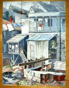 Signed Urban City Scene Gouache on Board Painting WPA Style  Regionalism