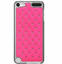 For iPod Touch 5th 6th Gen - HARD METAL CASE COVER HOT PINK SILVER DIAMOND BLING