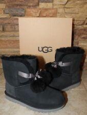NIB UGG GITA Suede Pom Shearling Bow Boots BLACK Youth 6 FITS Women's 7.5-8