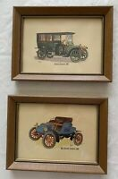 Lot 2 Vintage Art Classic Antique Car Wall Decorations Wood Framed