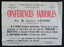 Affiche originale 1909 CONFÉRENCES AGRICOLES Seine-et-Oise St-Michel-sur-Orge