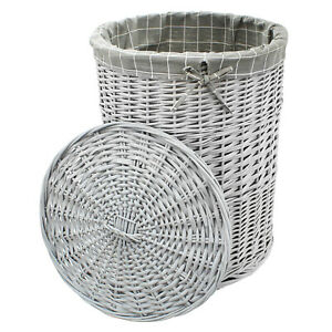 Wicker Laundry Basket Washing Bin Lid Bathroom Hamper Canvas Trunk Grey Storage