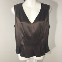 Doncaster Collection Silk V Neck Top sz 12 Brown Pleated Waist Sleeveless