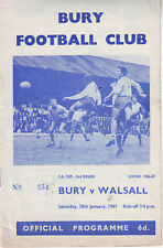BURY V WALSALL 28 JAN 1967 FA CUP VGC. DISCOUNT POSTAGE!