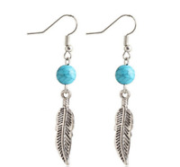 Leaf Feather Turquoise Drop Dangle Earrings