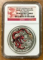 2012 P Australia DRAGON  Colorized RED $1  NGC PF69 Lunar silver 1 oz. nicer
