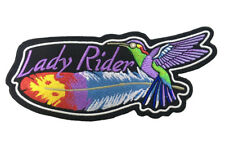 LADY RIDER  HUMMING BIRD PATCH FOR THE LADY BIKER.  SEW OR IRON  ON  PATCH
