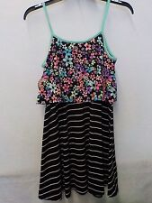 GIRLS SIZE 10 SO BRAND STRIPES AND FLOWERS RUFFLE TOP DRESS NEW NWT #1244