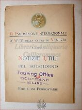 IX Esposizione Internazionale Arte VENEZIA 1910 GUIDA Treni Alberghi Biennale