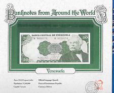 World Banknotes Venezuela 20 Bolivares 1984 P 64 GEM UNC prefix M