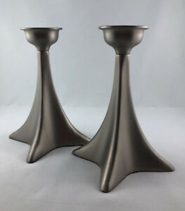 Lite Source LS-188SS Spear 6 X 5 inch Candle Holder Set Brushed Steel
