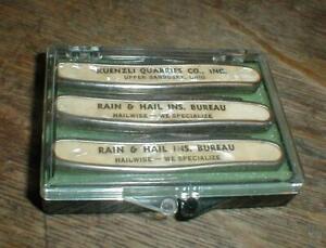 Lot-3 Vintage Colonial 2-Blade Advertising Pocket Knife in Original Case