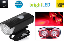 front USB rechargeable & rear 2 LED bike lights kit set for mountain road bikes