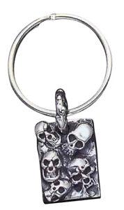 Sterling Silver 5 Skulls Key Ring - KR20