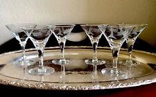 Vintage Wheat Pattern Etched Martini Cocktail Glasses Liquor Stemware Barware 6