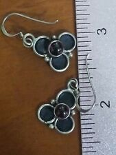Vintage Sterling Garnet Flower Earrings