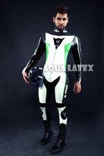 Rubber Latex Custom Moto Suit, Man Tight Bodysuit , Moto Catsuit