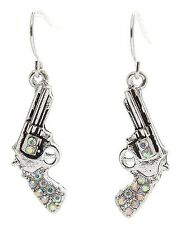 AB RHINESTONE WESTERN GUN PISTOL SIX SHOOTER EARRINGS COWGIRL JEWELRY 227