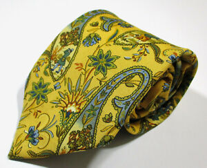 Vintage Salvatore Ferragamo Paisley Pattern Yellow Color Silk Necktie Tie
