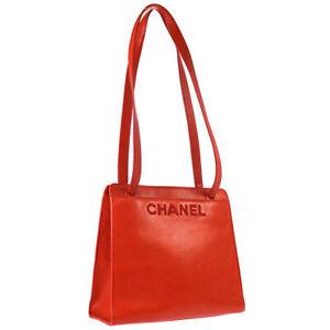 CHANEL CC Logos Shoulder Bag Purse Red Caviar Skin 5299455 Authentic 03584