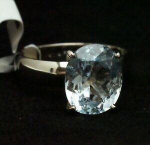 14K White Gold 4.76ct Natural Aquamarine Solitaire Ring 12mm x 10mm
