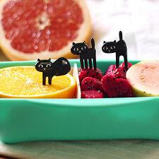 6Pcs Mini Animal Fork Fruit Picks Cute Cartoon Cat  Fork Bento Lunch Box De TO