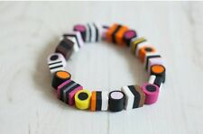 Funky miniature polymer clay mixed colour liquorice allsorts elasticated bracele