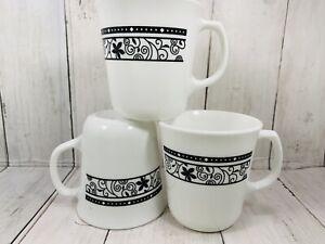 SET of 3 VINTAGE CORNING Ware Winding Gate COFFEE MUGS Black SCROLL on White USA
