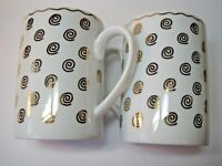 Pottery Barn Nile White Gold Set Of 2 Coffee Mugs Made In Japan