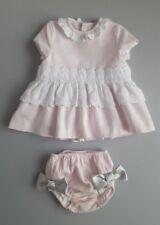 Spanish Designer AZUL DE COLIBRI Pink Lace Trim Dress & Bloomers__Age 9 Months