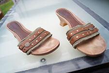 REPLAY Damen Sommer Schuhe Sandalen Clogs Gr.41 Nieten stoff leder NEU