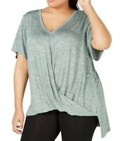 Calvin Klein Womens Top Heather Green 1X Plus Marled Twist-Hem V-Neck $69 516