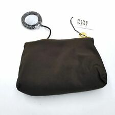 Nine West Makeup Bag Zippered Mirror Attached Brown Gold Cosmetic Travel Bag New